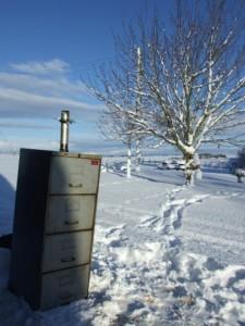 Smoking Christmas turkey in the snow at Smoky Jo's