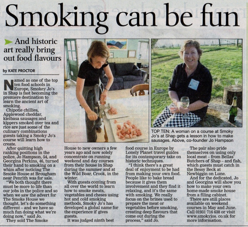 Westmorland Gazette feature Smoky Jo's, May 2011