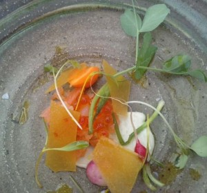 Smoked Bessy Beck trout with oyster, trout roes, pickled vegetables as served at L'Enclume