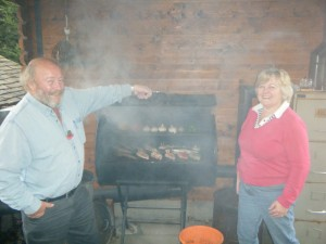 Dawn and Les smoking food at the Wild Boar