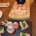 Smoked prawns, trout and sausages