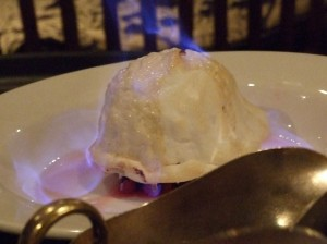 Wild Boar Inn baked Alaska - just before the fire is put out with a fruit coulis