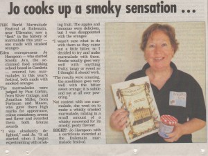Cumberland and Westmorland Herald article: Jo cooks up a smoky sensation...