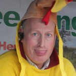 David Knipe as a chicken...