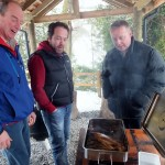 John, Russell and Chris can't hide their delight at the smoked trout - thanks guys!