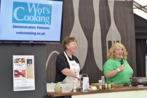 Smoky Jo being introduced on the Wot's Cooking Satge at Ludlow Food Festival