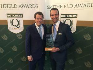 Gordon Atkinson of Elite meat recieving his award for his Smoked Bacon