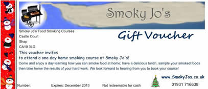 Christmas Gift Voucher for Food Smoking Course. Learn to smoke food at home as a present!